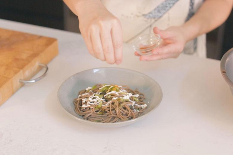 Soba noodle salad - Japanese buckwheat soba noodles